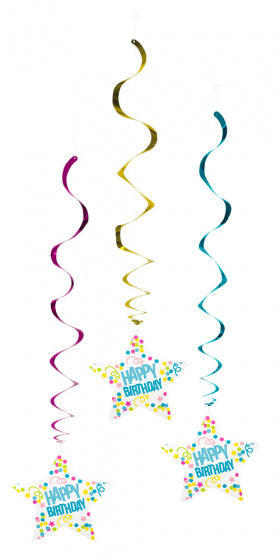 Boland feestlinten Happy Birthday 85 cm aluminiumfolie 3 stuks