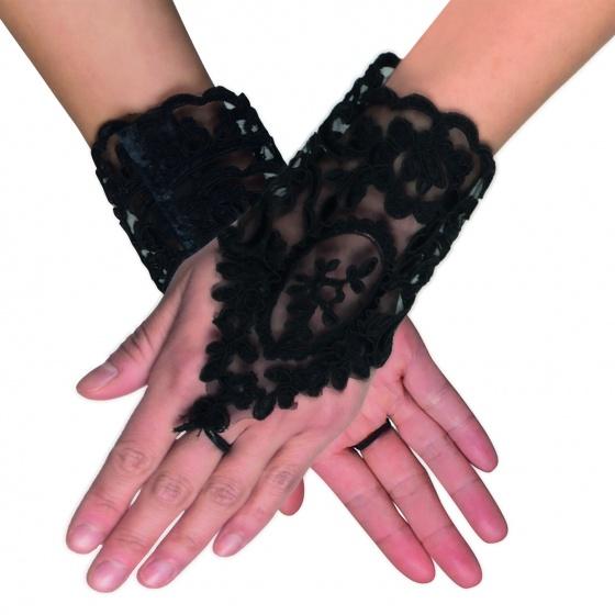 Boland kanten handschoenen pols dames zwart