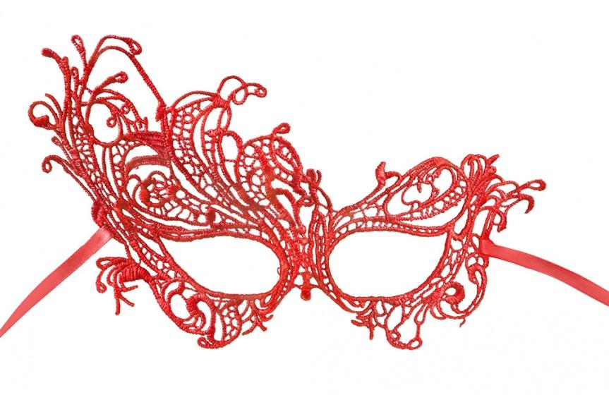 Boland oogmasker kant dames rood