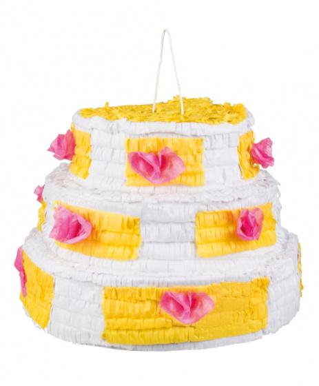 Wondrous Boland Pinata Birthday Cake 40 X 28 Cm Paper White Yellow Funny Birthday Cards Online Benoljebrpdamsfinfo