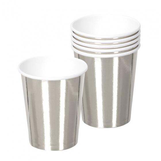 Boland bekers 25 cl papier zilver 6 stuks