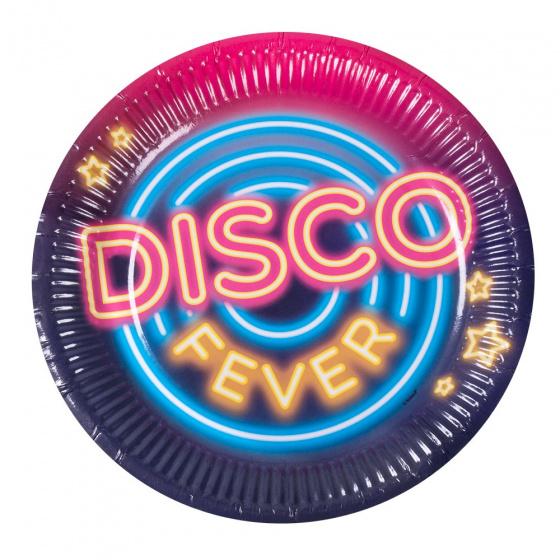 Boland bordenset met tekst 'Disco fever' junior 23 cm papier 6 stuks