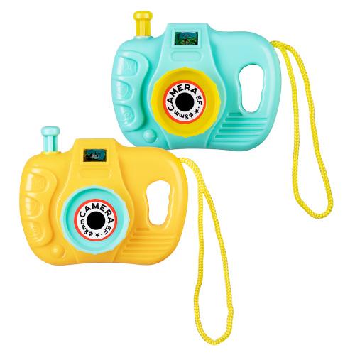 Boland speelgoedcamera's 5,5 x 7 cm geel/blauw 2 stuks