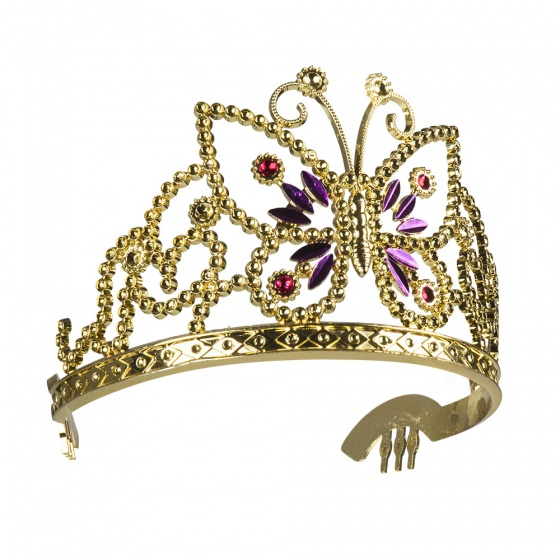 Boland tiara Diana meisjes goud one size vlinder