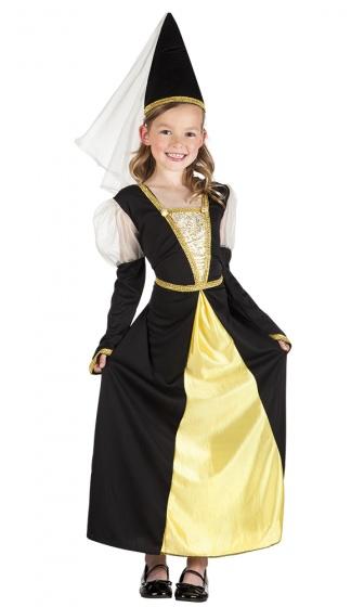 Boland verkleedjurk jonkvrouw meisjes zwart geel 225080