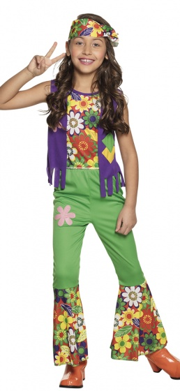 Boland verkleedpak hippie meisjes groen 225224