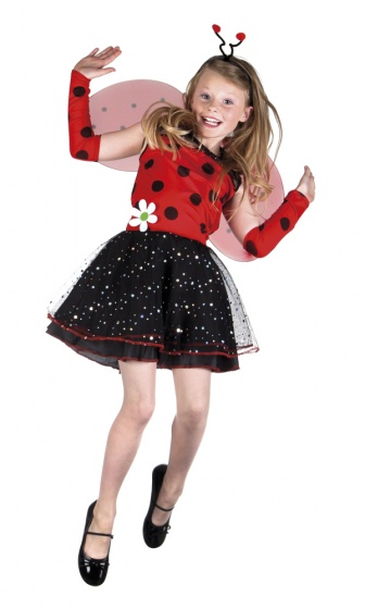Boland verkleedpak lieveheersbeestje meisjes rood/zwart mt 104 116