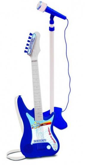 Bontempi Toy Band elektrische gitaar met microfoon wit-blauw