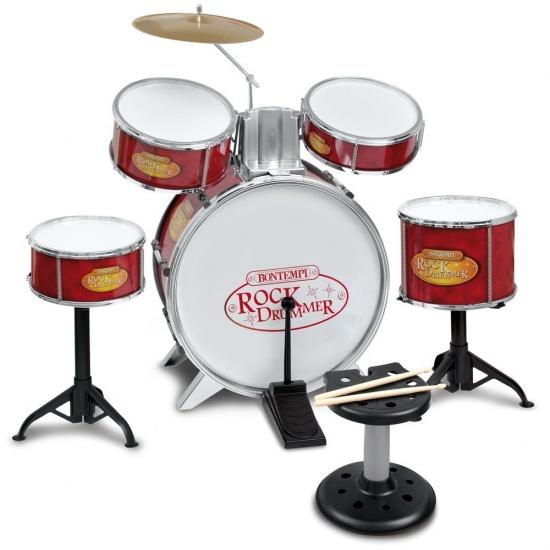 Bontempi Drumstel RockDrummer Rood/Zilver 9 delig