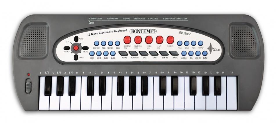 Bontempi Elektronisch keyboard 32 mini toetsen grijs 40 cm