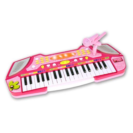 Bontempi elektronisch keyboard met microfoon 37 toetsen roze