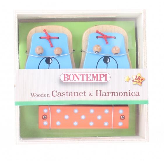 Bontempi houten castagnetten en mondharmonica blauw/oranje