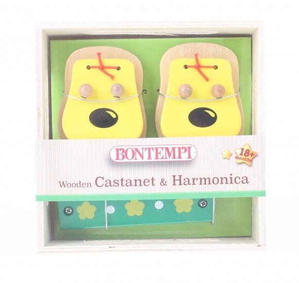 Bontempi houten castagnetten en mondharmonica geel/groen