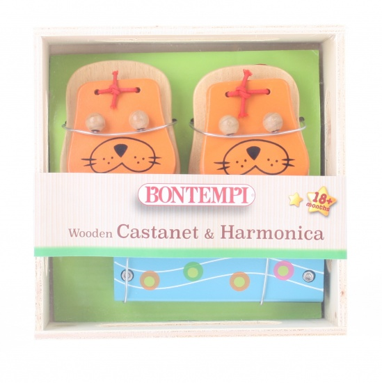 Bontempi houten castagnetten en mondharmonica oranje/blauw