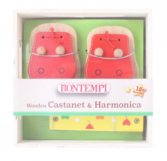 Bontempi houten castagnetten en mondharmonica rood/geel