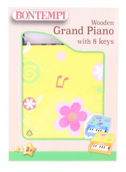 Bontempi houten piano acht toetsen geel