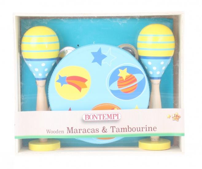 Bontempi houten sambaballen en tamboerijn blauw