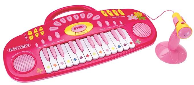 Bontempi Keyboard Elektronisch met microfoon 46 cm roze