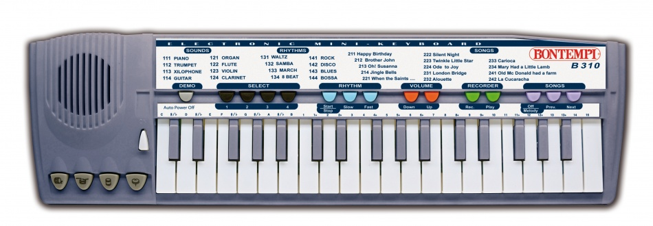 Bontempi Keyboard Elektronisch Mini 37 toetsen Grijs 44 cm