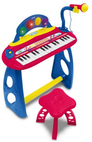Bontempi Keyboard Toy Band Staand met Microfoon Rood/Blauw