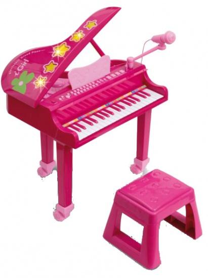 Bontempi Piano Elektrisch I Girl met Microfoon en Kruk Roze