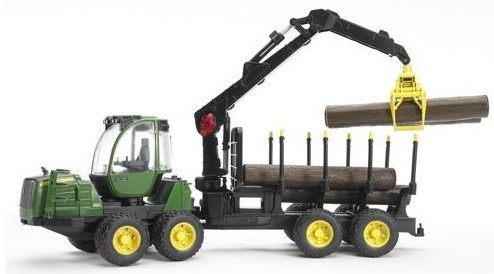 Bruder John Deere 1210E Bosbouw Tractor Boomstammen