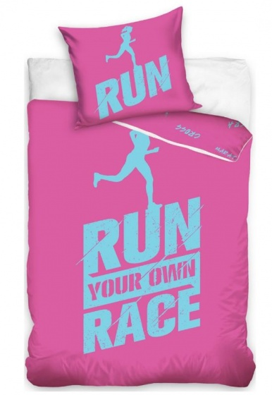 Carbotex dekbedovertrek Run Your Own Race roze 140 x 200 cm