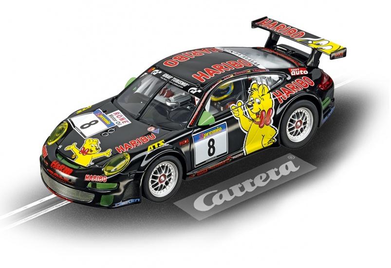 Carrera Evolution racebaan auto Porsche GT3 RSR Haribo Racing