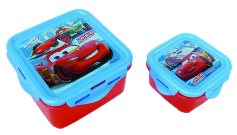 Disney Cars broodtrommelset kunststof 2 delig rood/blauw