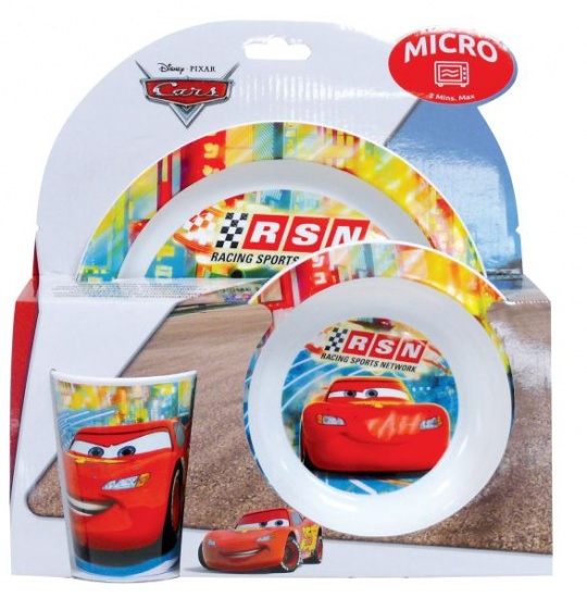 Disney Cars lunchset kunststof 3 delig wit