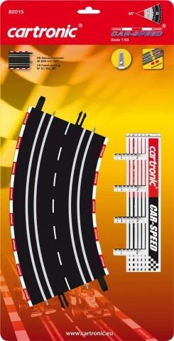 Cartronic Car Speed Platte bochten 45 graden 4 delig zwart