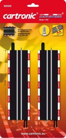 Cartronic Car Speed rechte baandelen enkel 18cm zwart 2 stuks