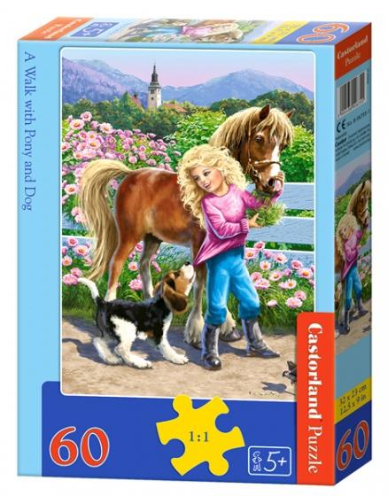 Castorland legpuzzel a Walk with Pony and Dog 60 stukjes