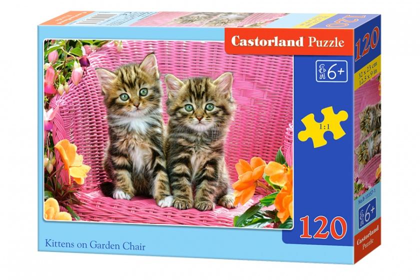 Castorland legpuzzel Kittens on the garden chair 120 stukjes