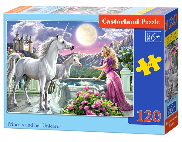 Castorland legpuzzel Princess and her Unicorns 120 stukjes