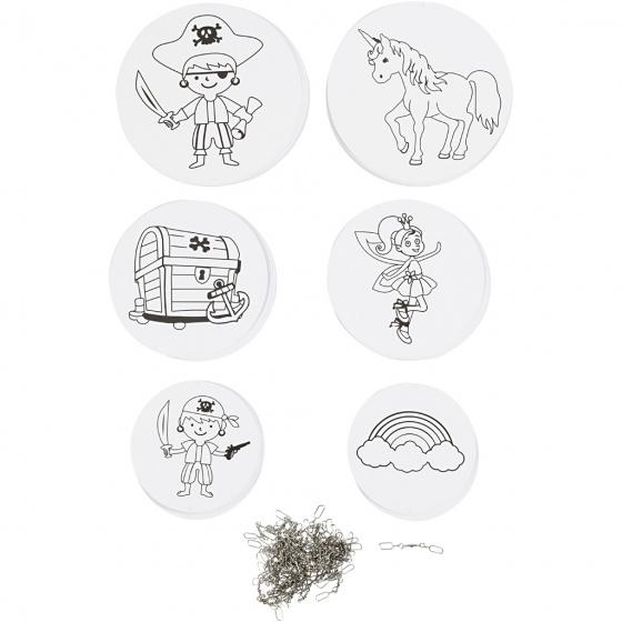 Creotime mobiel piraten en eenhoorns 12/15/18 cm karton wit 20 sets