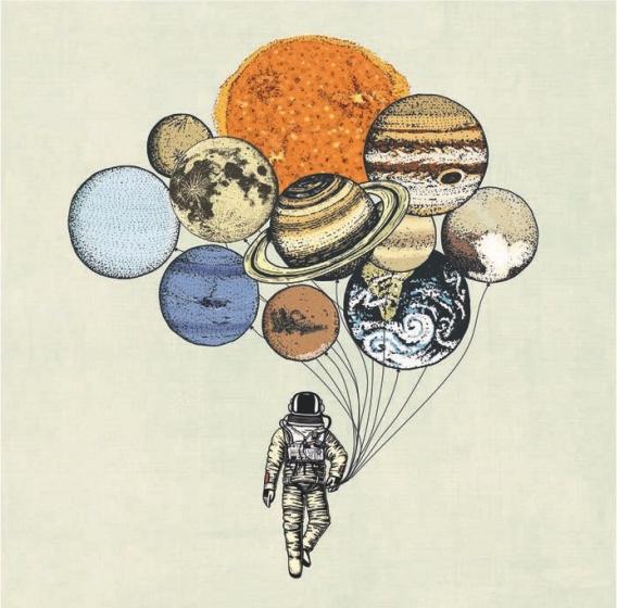 Chic.Mic canvas schilderij 20 x 20 x 4 cm Planets