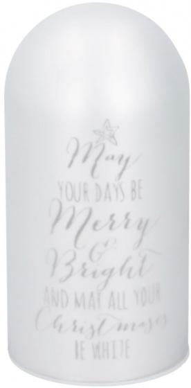 Christmas Gifts kerstdecoratie met LED 9x18 cm glas wit