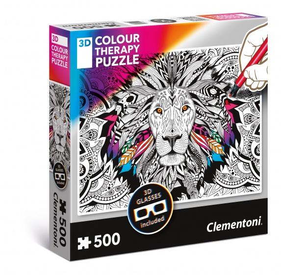 Clementoni kleur je eigen 3D puzzel 500 stukjes leeuw