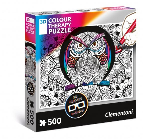 Clementoni kleur je eigen 3D puzzel 500 stukjes uil