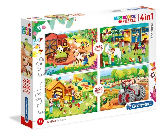 Clementoni legpuzzel Boerderij 4 puzzels 20/60 stukjes