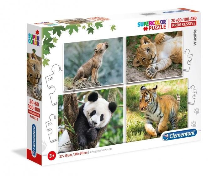 Clementoni legpuzzel Wildlife 4 puzzels 20/60/100/180 stukjes