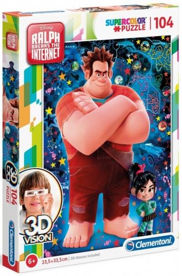 Clementoni puzzel 3D vision Disney Ralph 104 stukjes