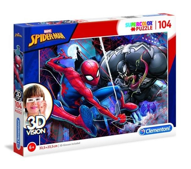 Clementoni puzzel 3D Vision Spider man 104 stukjes