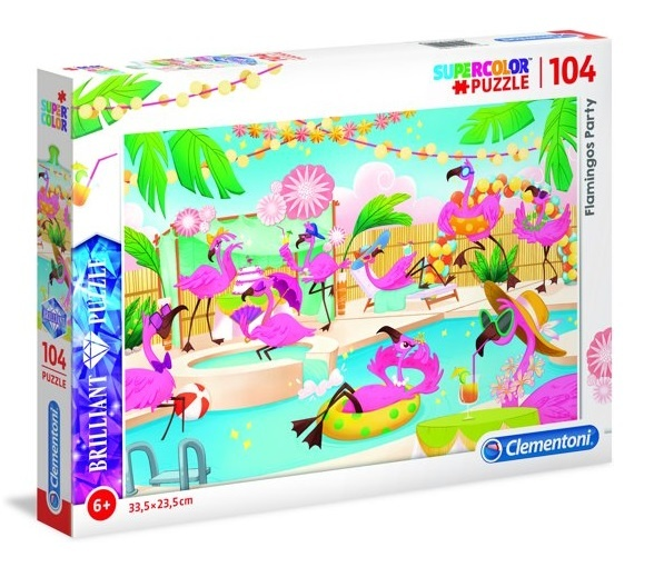 Clementoni puzzel Brilliant Puzzle Flamingos Party 104 stukjes