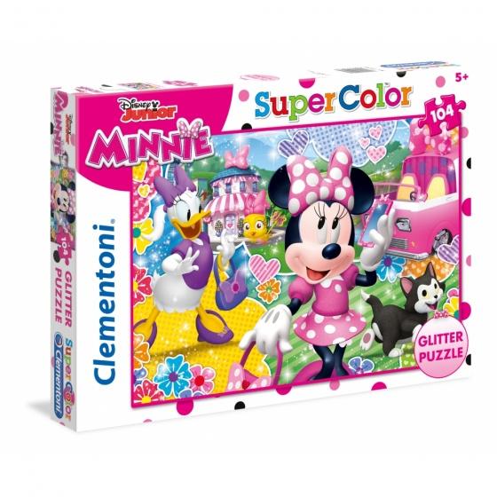 Clementoni puzzel Glitter Puzzle Minnie 104 stukjes