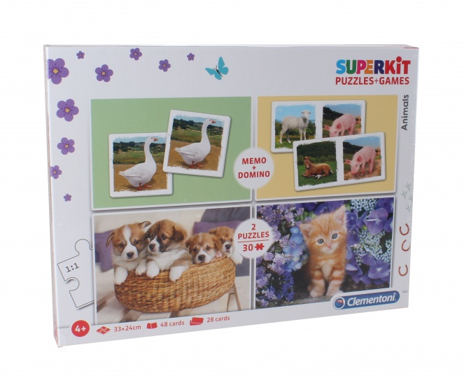 Clementoni puzzel Superkit Animals 4 in 1 30 stukjes