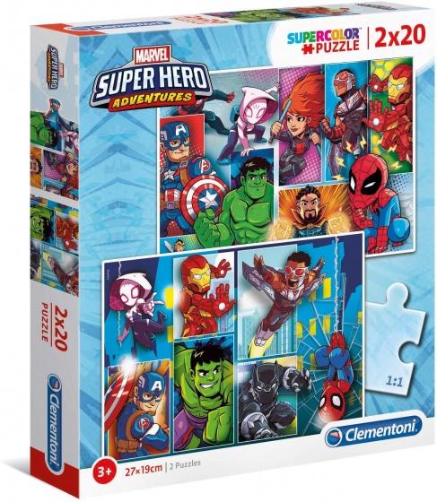 Clementoni Super Hero Adventures legpuzzel 2 puzzels 20 stukjes