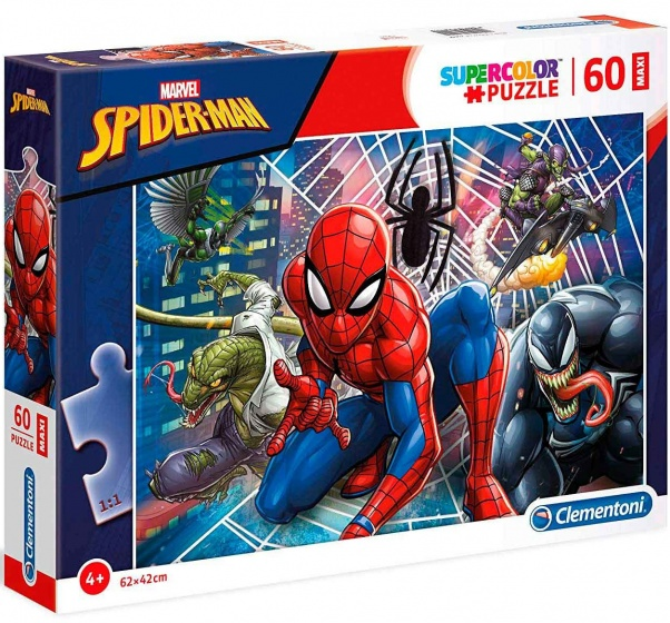 Clementoni supercolor maxi puzzel Spider Man 60 stukjes