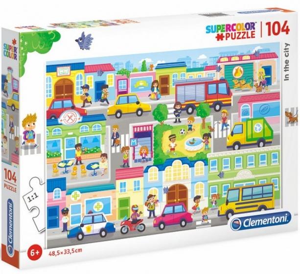 Clementoni supercolor puzzel in de stad 104 stukjes (27114)